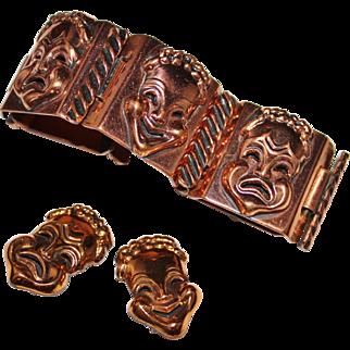 Vintage RENOIR Copper Comedy Tragedy Drama Mask Face Panel Bracelet Earrings Set