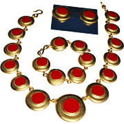Vintage ERWIN PEARL Brushed Gold Red Enamel Dot Necklace, Bracelet, Earrings Set