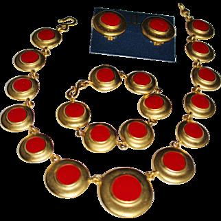 Vintage ERWIN PEARL Brushed Gold Red Enamel Dot Necklace, Bracelet, Earrings Set