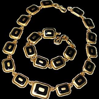 Vintage Mod ERWIN PEARL Brushed Gold Black Enamel Necklace, Bracelet Set