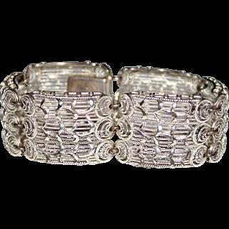 Vintage ALICE CAVINESS STERLING Filigree Panel Bracelet, Wide