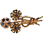 Vintage Estate 14k Yellow Gold Blue Sapphire & Diamond Flower Bouquet Brooch Pin