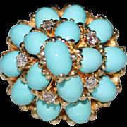 Vintage 1960's 14k Gold Dome Harem Turquoise Cluster & Diamond Ring, Size 5.75