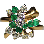 Vintage 14k Trubrite Diamond & Emerald Cluster Cocktail Ring, Size 6, 1.50 CTW
