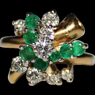Vintage 14k Trubrite Diamond & Emerald Cluster Cocktail Ring, Size 6, 1.50 CTW