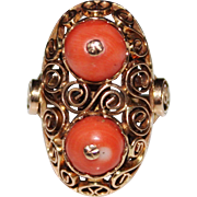 Fancy Vintage 14k Rose Gold Filigree Salmon Coral Ring, Size 8.5, 9.2 Grams