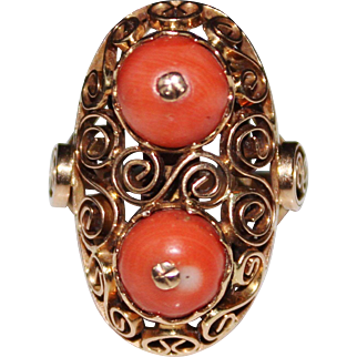 Fancy Vintage 14k Rose Gold Filigree Salmon Coral Ring, Size 8.5, 9.2 Grams