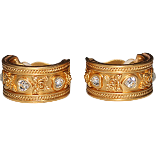 Elizabeth Taylor for Avon Rhinestone Hoop Clip Earrings, Love Blooms Collection