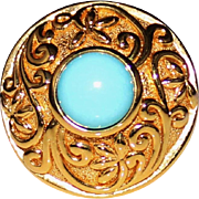 Estate 14k Yellow Gold Fancy Scroll Turquoise Cabochon Ring, Size 6, 3.4 Grams