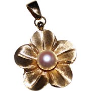 Estate 14k Brushed Yellow Gold Flower Pendant, Cultured Pearl, Italy, 5.2 Grams