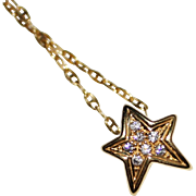 18k Diamond Star Pendant Necklace 14k Chain, .08 CTW, Great Estate Necklace 3.3G