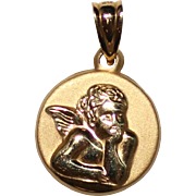 Vintage Michael Anthony 14k Yellow Gold Guardian Angel Pendant