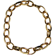 "Elegant 14k Yellow Gold Italian Oval Link Chain Bracelet, 7 1/2"", 5.2 Grams"