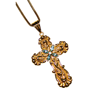 Gorgeous 18k Yellow Gold Fancy Blue Topaz Cross Pendant on Snake Chain 7.8 Grams