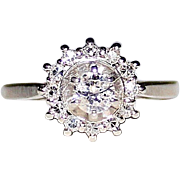 Vintage 14k White Gold .23CT Diamond Halo Engagement Ring, Size 6, .47 CTW