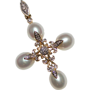 Pretty Estate Filigree Pearl & Diamond Cross Pendant, 14k Yellow Gold, 5.2 Grams