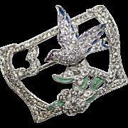 Vintage Pave Rhinestone Encrusted Enamel Trembling Bird Flower Brooch. Trembler