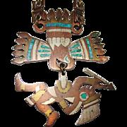 Vintage Taxco Mexico METALES CASADOS Eagle Warrior Aztec Necklace, Copper, Brass