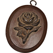 Antique Gutta Percha Rose Pendant, Mourning Jewelry - Red Tag Sale Item