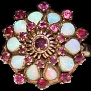 Vintage 14k Yellow Gold Harem Ring, Opal & Rubies, Asian Princess, Size 6.75