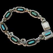 Vintage ZUNI Signed BJ Turquoise Needlepoint Link Bracelet, Sterling
