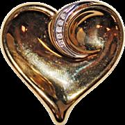 Estate 14k Gold Swirled Heart Diamond Pendant, Yellow Gold, 2.4 Grams