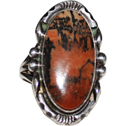 Vintage Navajo Indian PETRIFIED WOOD Ring, Sterling Silver, Size 6