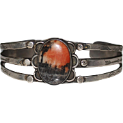 Vintage Fred Harvey Era Navajo Indian Petrified Wood Cuff Bracelet, 26.4 Grams