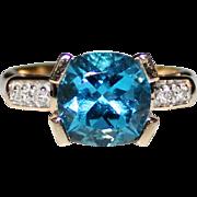 Gorgeous Estate 14k Gold Swiss Blue Topaz Diamond Ring, 2.67 CTW, Size 6