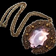 Art Deco 1930's Amethyst Glass Brass Filigree Pendant Necklace, Large, Bold