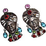 Pair of Vintage 1940's Unsigned HOBE Sterling Sultan Jeweled Turban Fur Clips