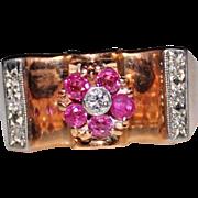 RETRO ERA 1940's 14k Rose Gold Ruby & Diamond Ring, Flower, Size 7.75, 5.2 Grams