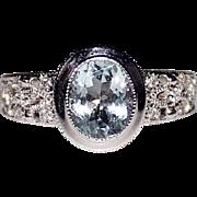 Estate 14k White Filigree Aquamarine & Diamond Filigree Ring, Deco Style, Size 7