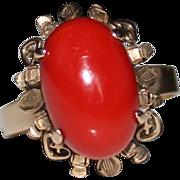 Vintage 10k Rose Gold Sardinian Red Coral Ring, Size 8, 4.4 Grams, Mediterranean