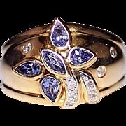 LEVIAN 18k Yellow Gold TANZANITE & Diamond Butterfly Dome Band Ring, Size 9