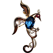 TRIFARI Sterling Flying Bird of Paradise Sapphire Glass Belly, Shoebutton Brooch