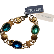 HTF TRIFARI Kunio Matsumoto Blue Green Glass Seashell Nautical Bracelet W/Tags
