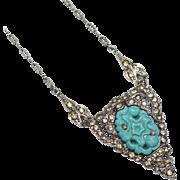 Art Deco KTF Trifari Molded Aqua Glass Pave Set Rhinestone Necklace, 1935