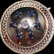 Vintage Estate 14k Yellow & White Gold Diamond Sapphire Brooch, 1.21 CTW, 10.9 Grams