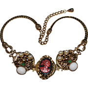 Vintage SELRO Chunky Cameo Necklace, Faux Pearls, Scarabs, Art Glass