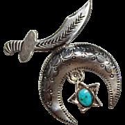 Vintage Sterling NAVAJO Indian Turquoise SHRINER Symbol Stamped Detailed Brooch