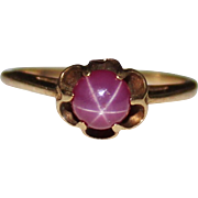 Vintage 10k Gold Buttercup Mount Pink Star Sapphire Ring, Size 5.5, 1.6 Grams