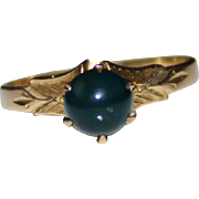 10k Yellow Gold Vintage Bloodstone Ring, Tiffany Style Setting Size 6, 2.2 Grams