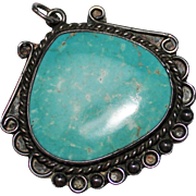 Vintage NAVAJO Indian Fancy Turquoise Pendant, Sterling, 1960's/70's