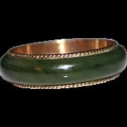 Vintage Estate 14k Rose Gold Jade Band Ring, Size 11, 4.1 Grams, Eternity Band