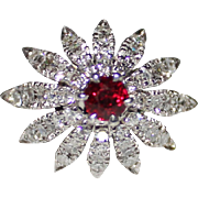 Incredible 18k White Gold Conical Flower Diamond & Ruby Ring, 1960's, 1.42 CTW
