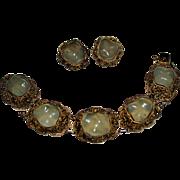 Vintage CHINESE EXPORT Sterling Silver Filigree JADE Link Bracelet, Earrings Set