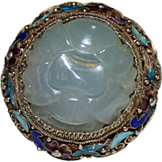 CHINESE EXPORT Sterling & 14k GOld Filigree Enamel Carved JADE Lotus Flower Ring