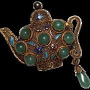 Vintage Sterling Silver & Jade Filigree Enamel Teapot Chinese Export Brooch