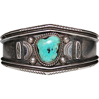 Vintage Old Pawn Navajo Indian Sterling Turquoise Cuff Bracelet, 46.2 Grams